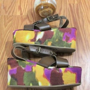 Mossimo Cross Strap Water Color Wedges